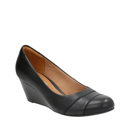 Details about  /Ladies Clarks Wedge Heeled Leather Slip On Fastening Shoes /'Brielle Tacha/'